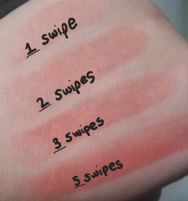 hand shows five swatches of the lip balm to show one through five layers of balm. even after five, it's still somewhat sheer