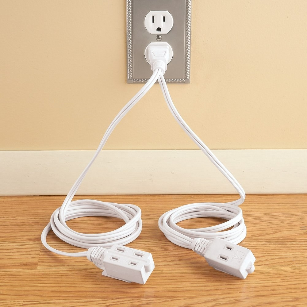 The double-ended extension cord in white.