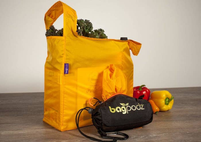 """The bags are machine-washable and can be easily tucked away in their handy storage bag once you're done using them. The set includes five bags.Promising review:""""This is a great product! I can fit a lot of groceries in each bag. I find that five bags are enough to hold a week's worth of groceries for two. The bags are a good quality and easy to stuff back into the pod when done. And I feel good that I am finally using my own bags instead of wasting plastic bags each trip!"""" —Karen MortensenGet them from Amazon for$24.95(available in two colors)."""