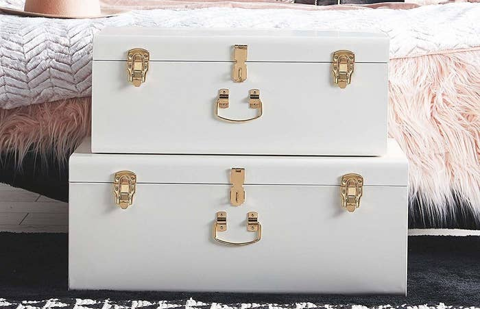 """Because you know they could use some extra storage space.Promising review:""""I bought these to use for shoe storage in my bedroom and they look great! The two of them hold all the shoes that were on my ugly, tiered fabric shoe rack. The trunks are attractive, simple, and an affordable upgrade to our room."""" —Amazon CustomerGet them from Amazon for$109.99+(available in six colors)."""