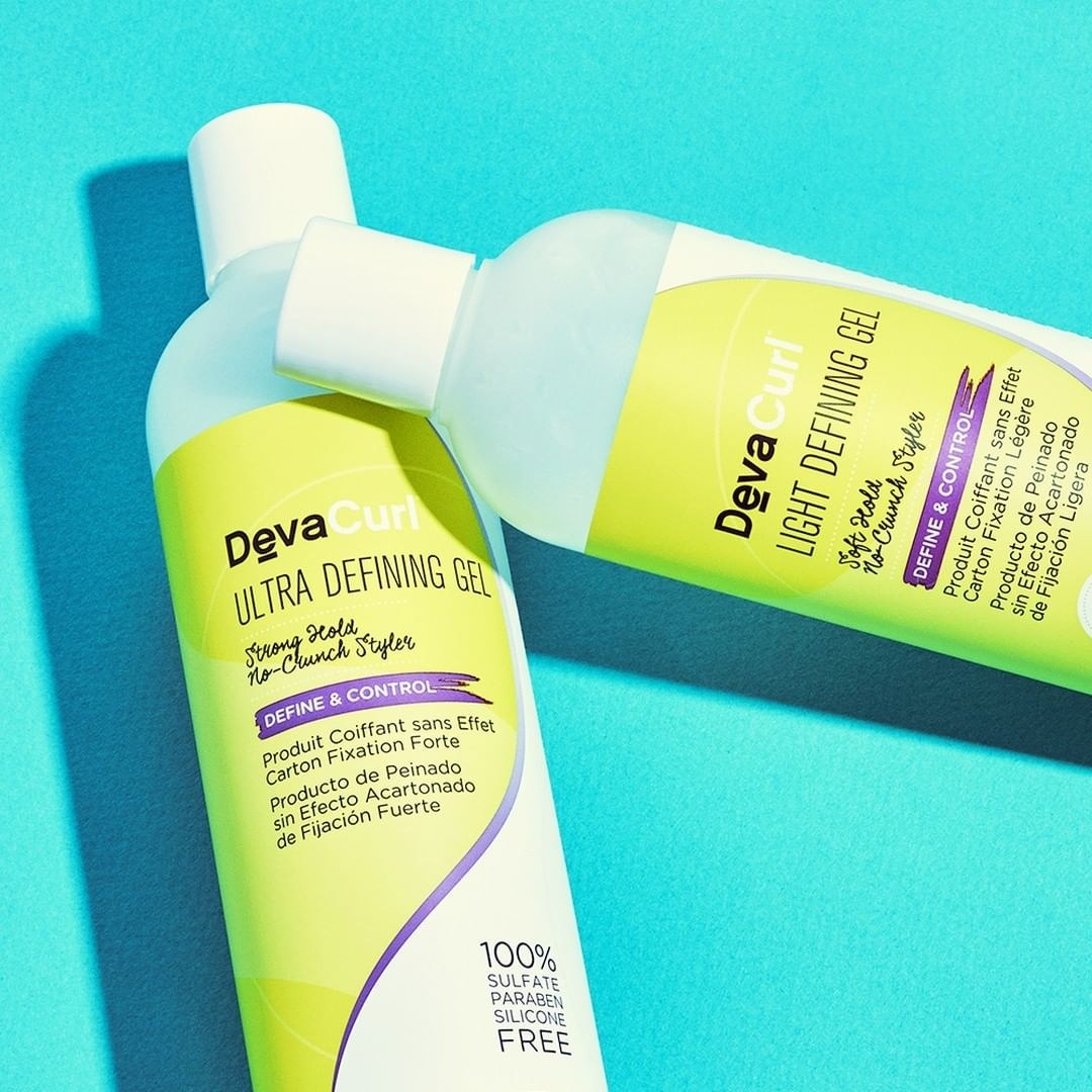 bottles of devacurl ultra- and light-defining gel