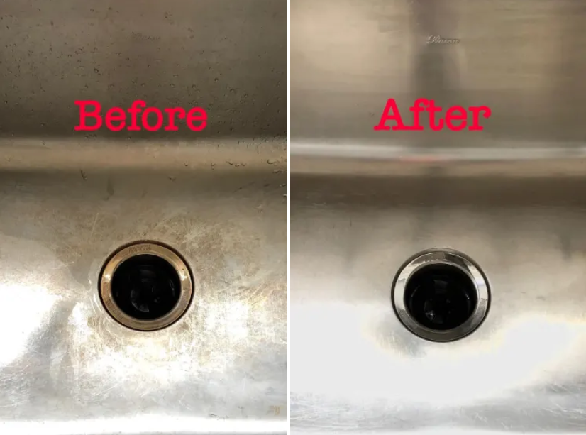 A side by side of a rusty sink next to the same sink now clean and shiny after using the product