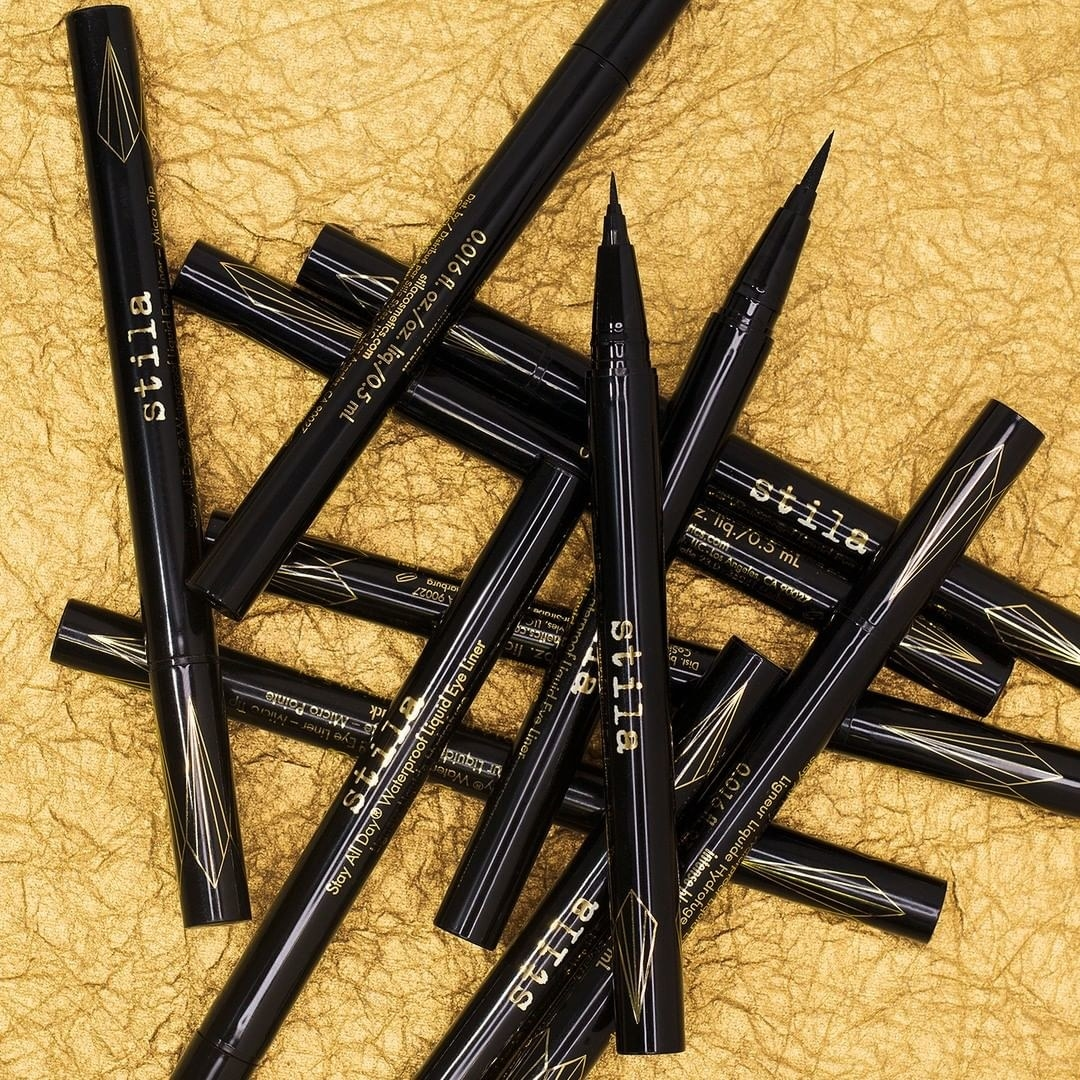pile of stila stay all day waterproof liquid eyeliners