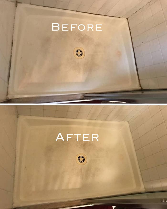 A before and after of a shower bed with water mildew in the before and none in the after