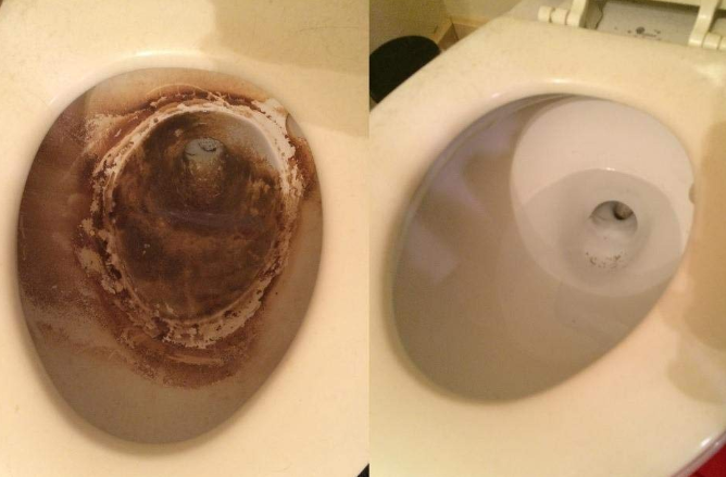 A photo of a dirty toilet bowl next to the same toilet bowl now clean