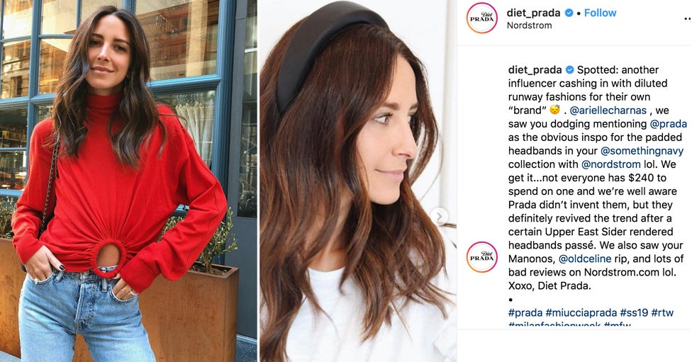 3994bd9fbbdd Fashion Influencer Arielle Charnas And Popular Account @Diet_Prada Are  Feuding Over A Headband Design