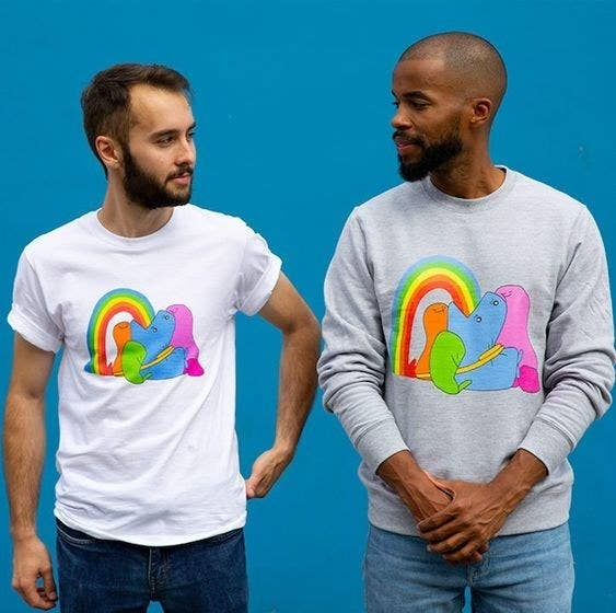 "Get them from the BuzzFeed merch shop on Amazon: the T shirt for $19.99 (available in sizes S–2XL in men's, women's, and kids, and in five colors) and the sweatshirt for $38.99 (available in sizes S–2XL and five colors).To learn more about this 🌈colorful collection🌈, check out ""The Land Of Boggs Now Has Merch So Fine, I'll Get Dressed Today""."