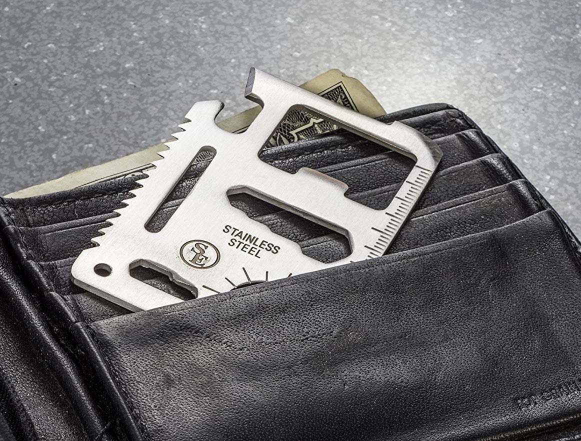 multi-tool tucked into a wallet