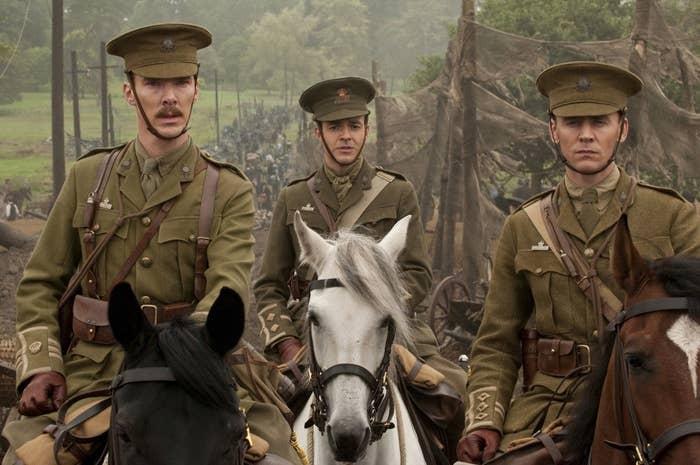 Benedict Cumberbatch as Major Jamie Stewart and Tom Hiddleston as Captain James Nicholls in the 2011 drama War Horse.