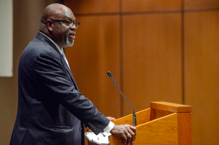 US District Judge Carlton Reeves speaking at the University of Virginia School of Law on April 11, 2019.