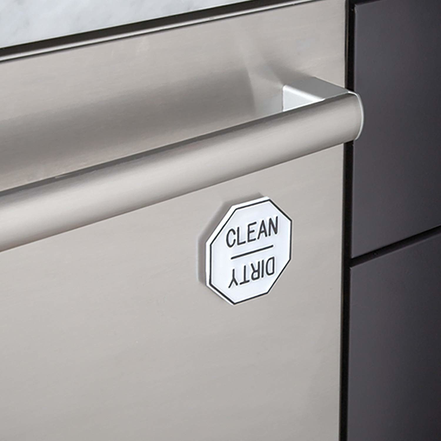 "octogon magnet that can be turned to read ""clean"" or ""dirty"" on a dishwasher"