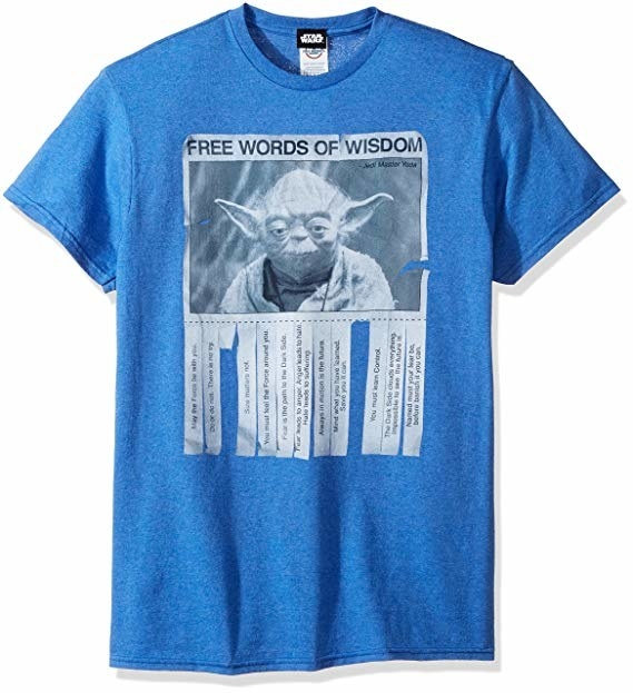 a blue tee with a picture of yoda on it and pieces of paper hanging from it with advice