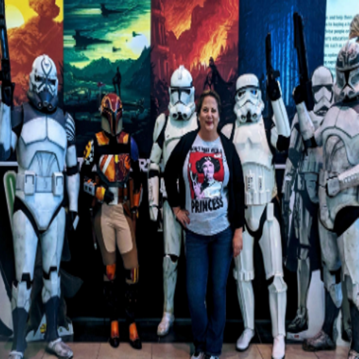 a reviewer in the shirt with storm troopers