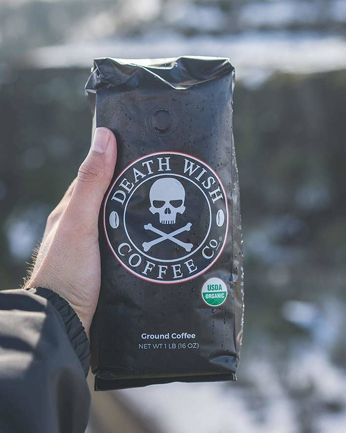 """Promising review: """"As a grad student, I don't get much time to sleep and tend to have that zombie apocalypse look day in and day out. The 5+ cups of regular coffee just isn't doing it anymore. So, I decided to try out Death Wish to see if it could give me a little extra boost. It did the job! Best of all, it's not bitter! It immediately lifts the fog in the mornings and gives me that extra push I need in the afternoons. Not to mention that the bag is pretty neat and I couldn't help but think I was opening a coffin when the box came in with the coffee inside it! Good stuff, but probably not for those that are sensitive to caffeine.😬💀☕️"""" —MeliGet a 1 lbs. bag from Amazon for $19.99."""