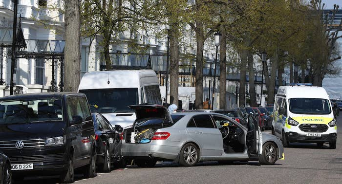 The scene near the Ukrainian embassy in Holland Park, west London.