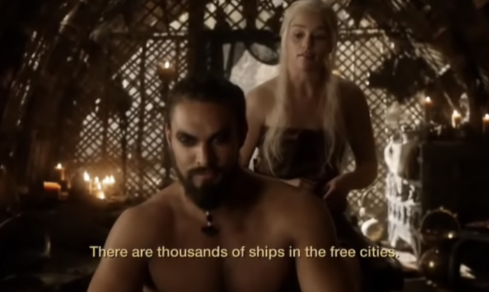 We decided to learn this scene from Season 1, Episode 7, featuring Drogo and Daenerys.