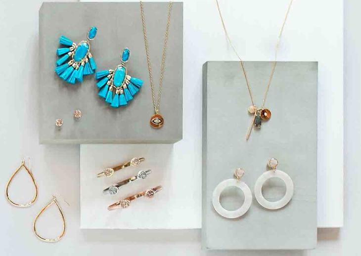 Hoop earrings, gemstone hair clips, and necklaces