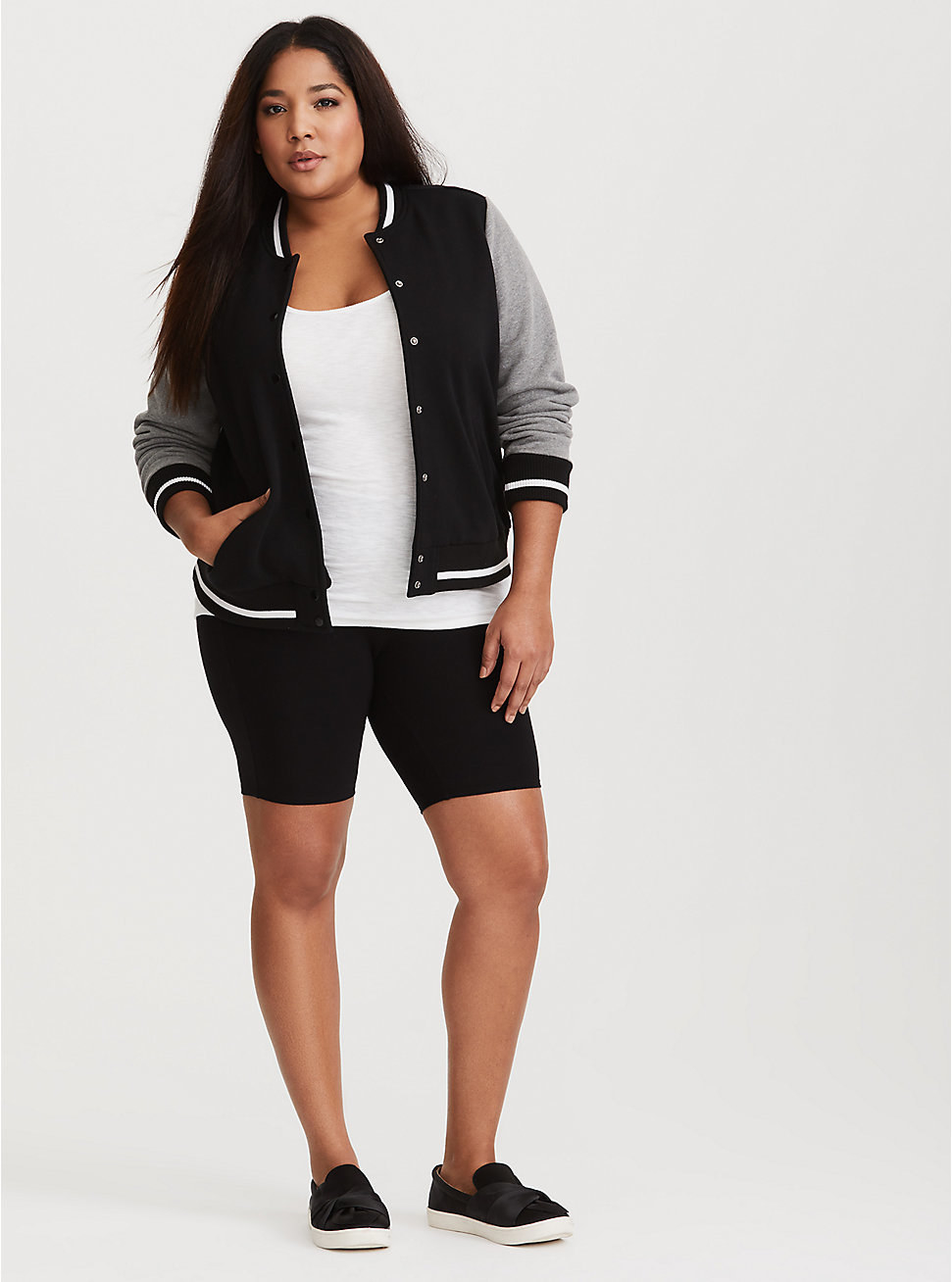 A model in the shorts, which come about 4 inches above the knee