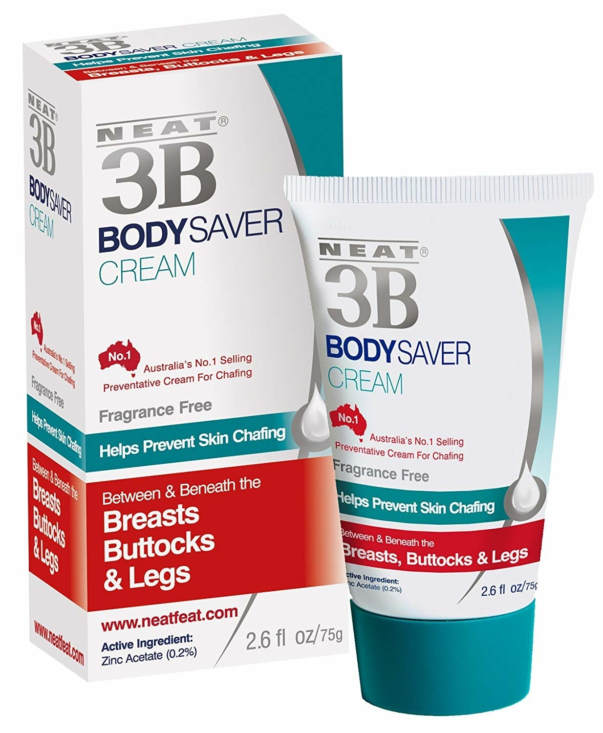 """The tube of Body Saver Cream, which says it works for """"Breasts, Buttocks, and Legs"""" and is  """"Australia's No. 1 Selling Preventative Cream for Chafing"""""""