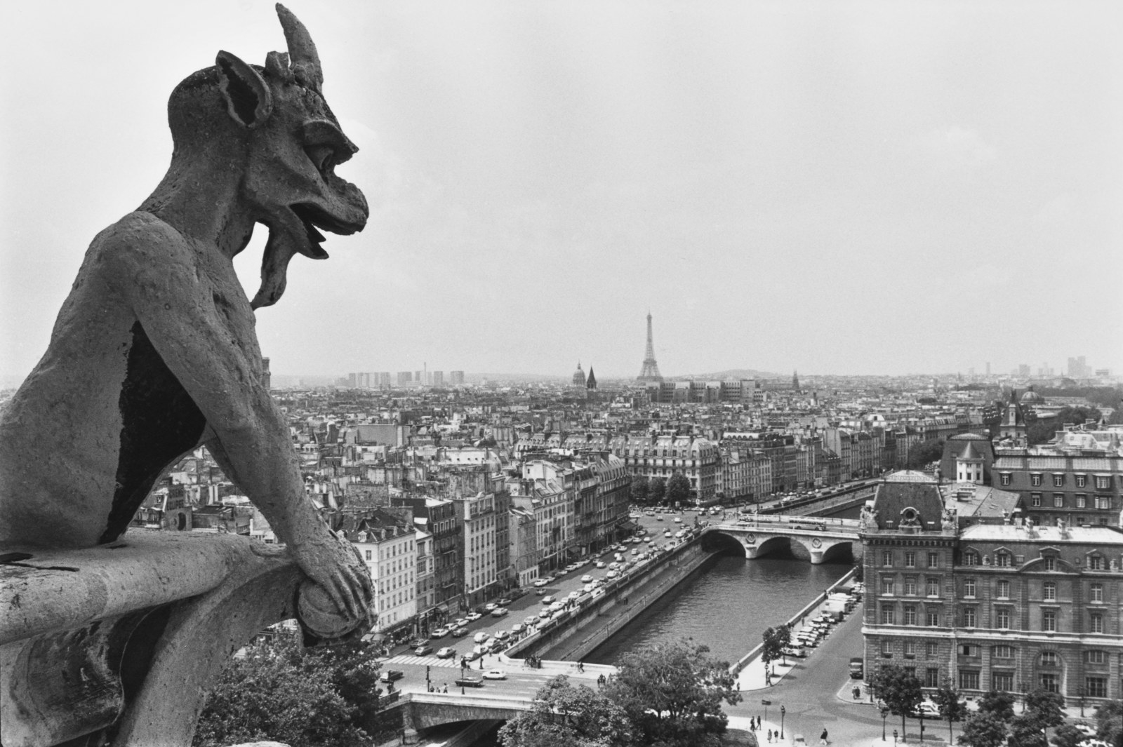 A gargoyle on top of the Notre Dame Cathedral photographed in July 1980.