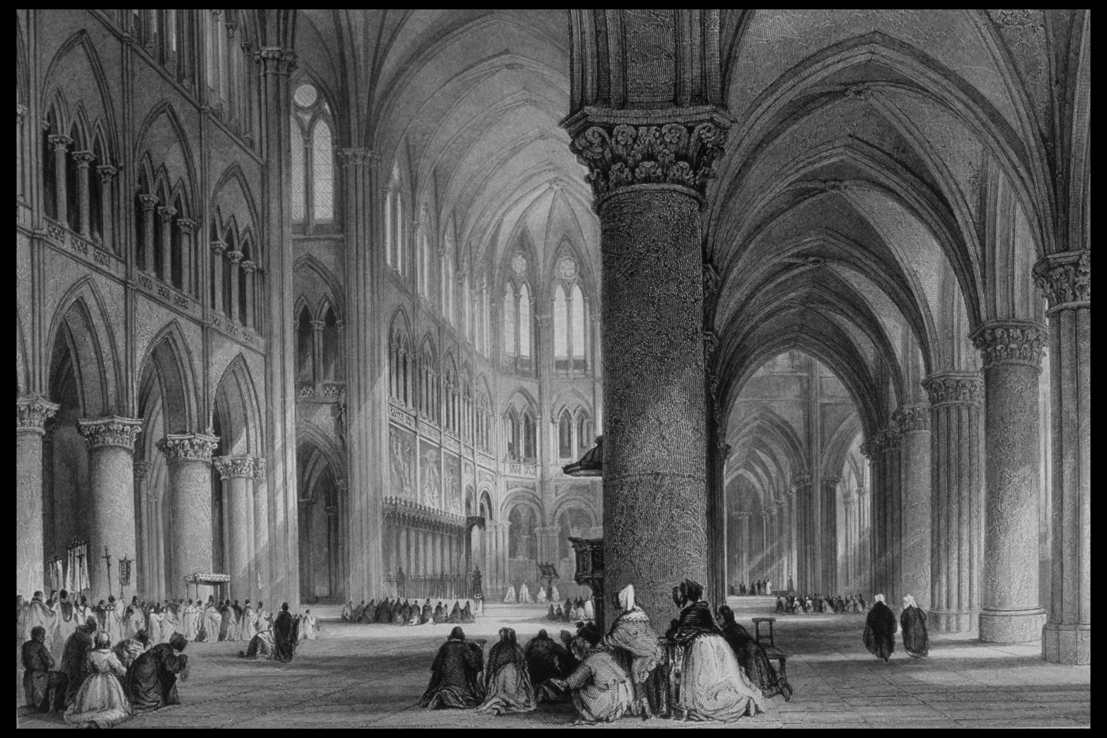 Interior of Notre Dame Cathedral as drawn by Thomas Allom from France Illustrated, 1845.