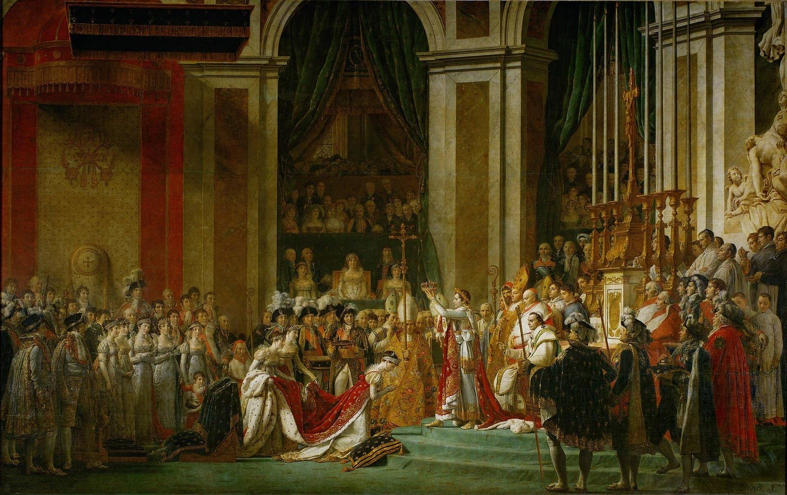 Joséphine kneels before Napoléon I during his coronation at Notre Dame.