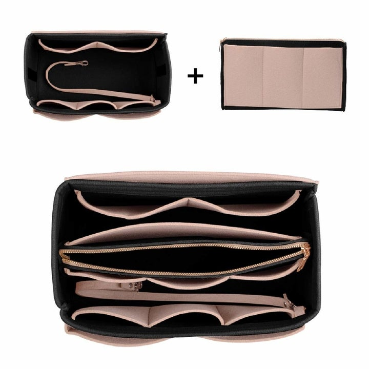 The tan organizer with and without the center pouch inside