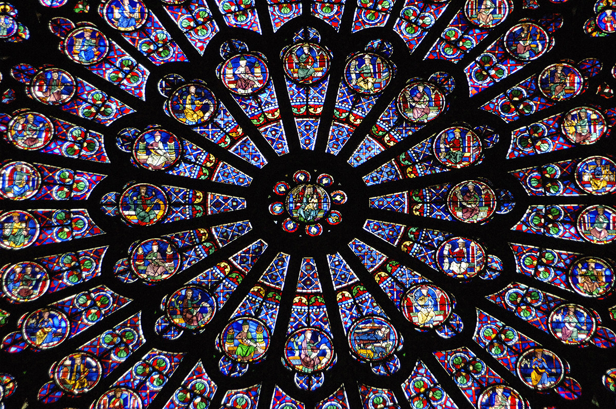One of Notre Dame's famous rose windows, on the northern side of the cathedral, dating to the 13th century.