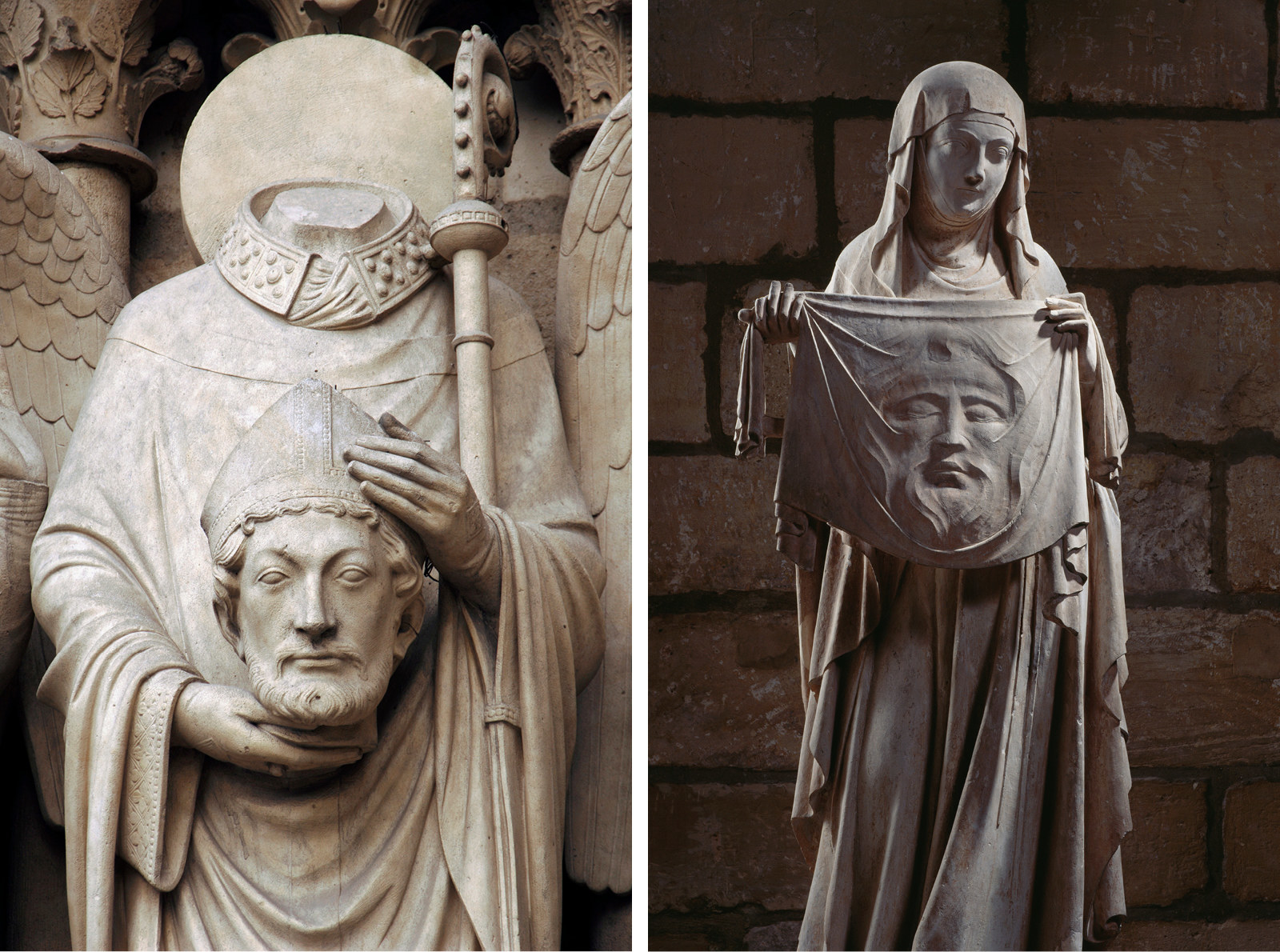 """The cathedral's exterior is adorned with sculptures illustrating biblical stories, known as the """"poor people's book,"""" as, historically, the majority of parishioners could not read. Left: Christian martyr Saint Denis holding his head. Right: Saint Veronique holding the shroud of Christ."""