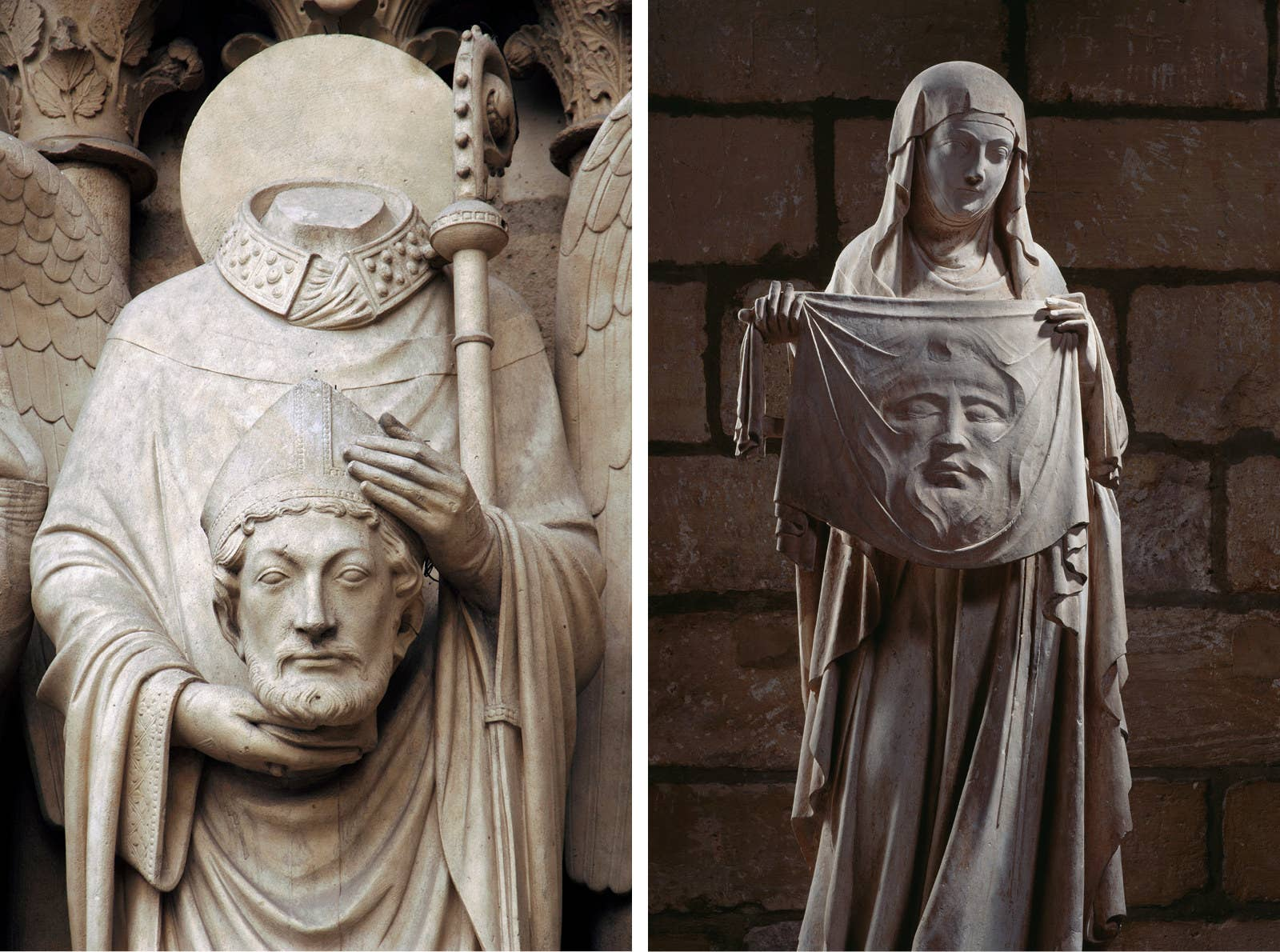 """The exterior of the cathedral is adorned with sculptures illustrating biblical stories, known as the """"poor people's book,"""" as, historically, the majority of parishioners could not read. Left: Christian martyr Saint Denis holding his head; Right: Statue of Saint Veronique holding the shroud of Christ"""