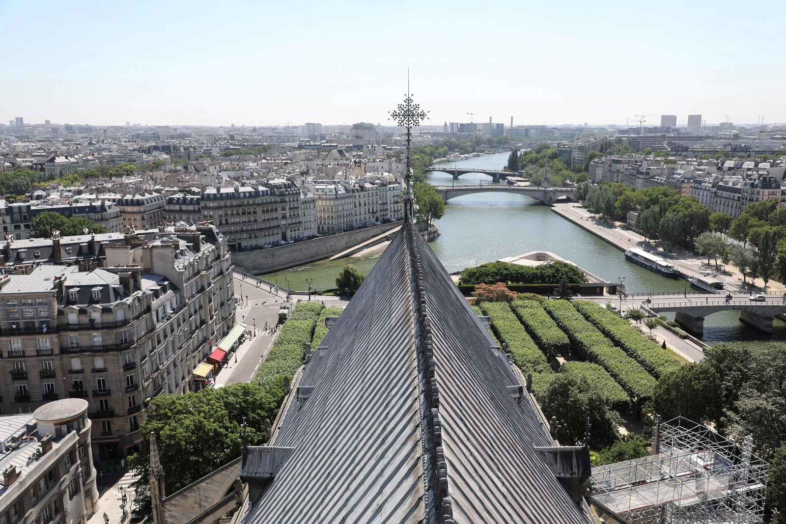 A view of the Seine river and its surroundings from the Notre Dame Cathedral on June 26, 2018.