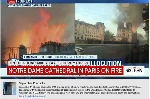 YouTube Flagged The Notre Dame Fire As Fake News And Then Started Showing People Articles About 9/11
