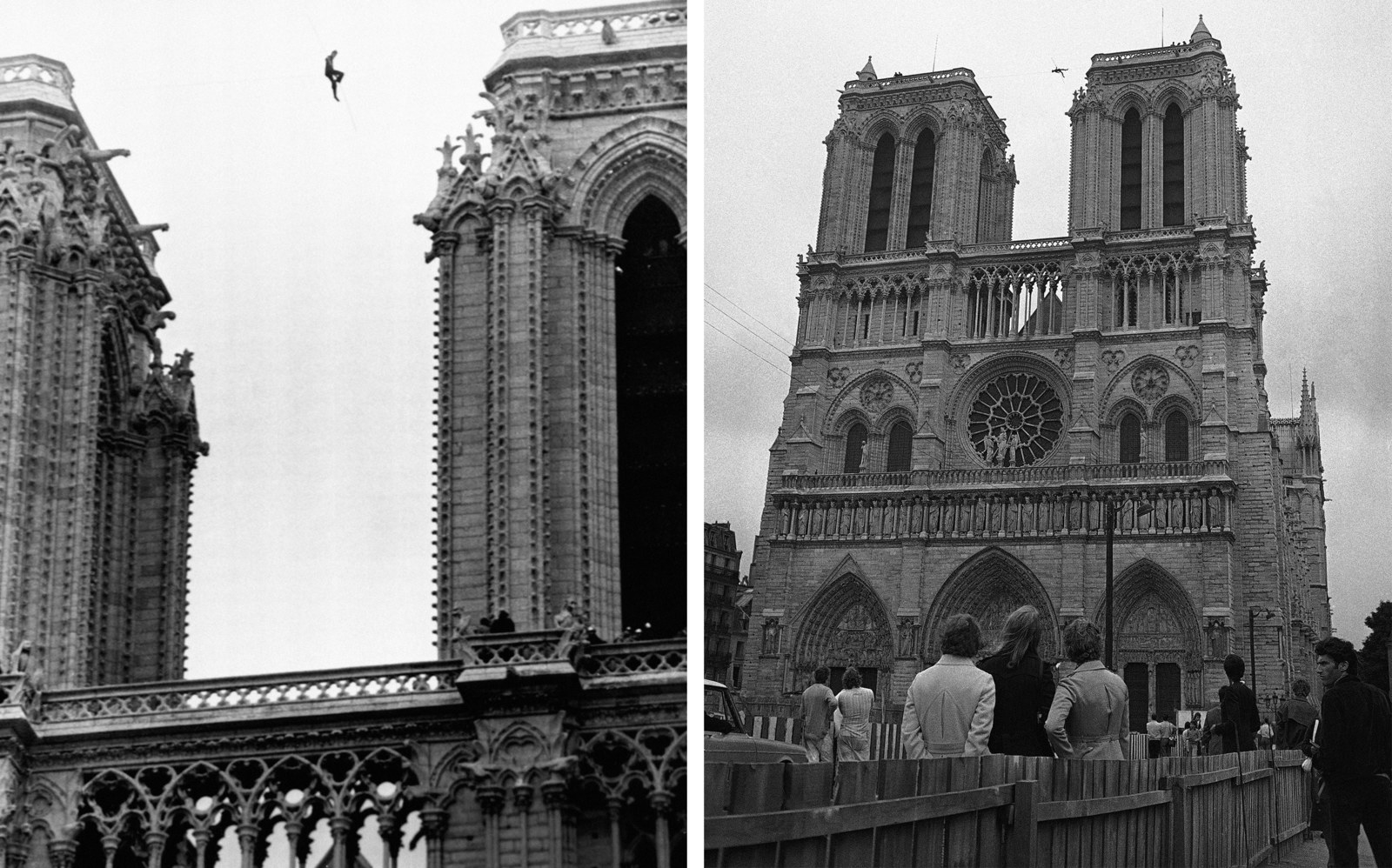 Philippe Petit, a 21-year-old professional tightrope walker, perches 225 feet above the ground, between the two towers of Notre Dame cathedral, Paris, on June 26, 1971, during a stunt which lasted several hours, with police unable to bring him down.