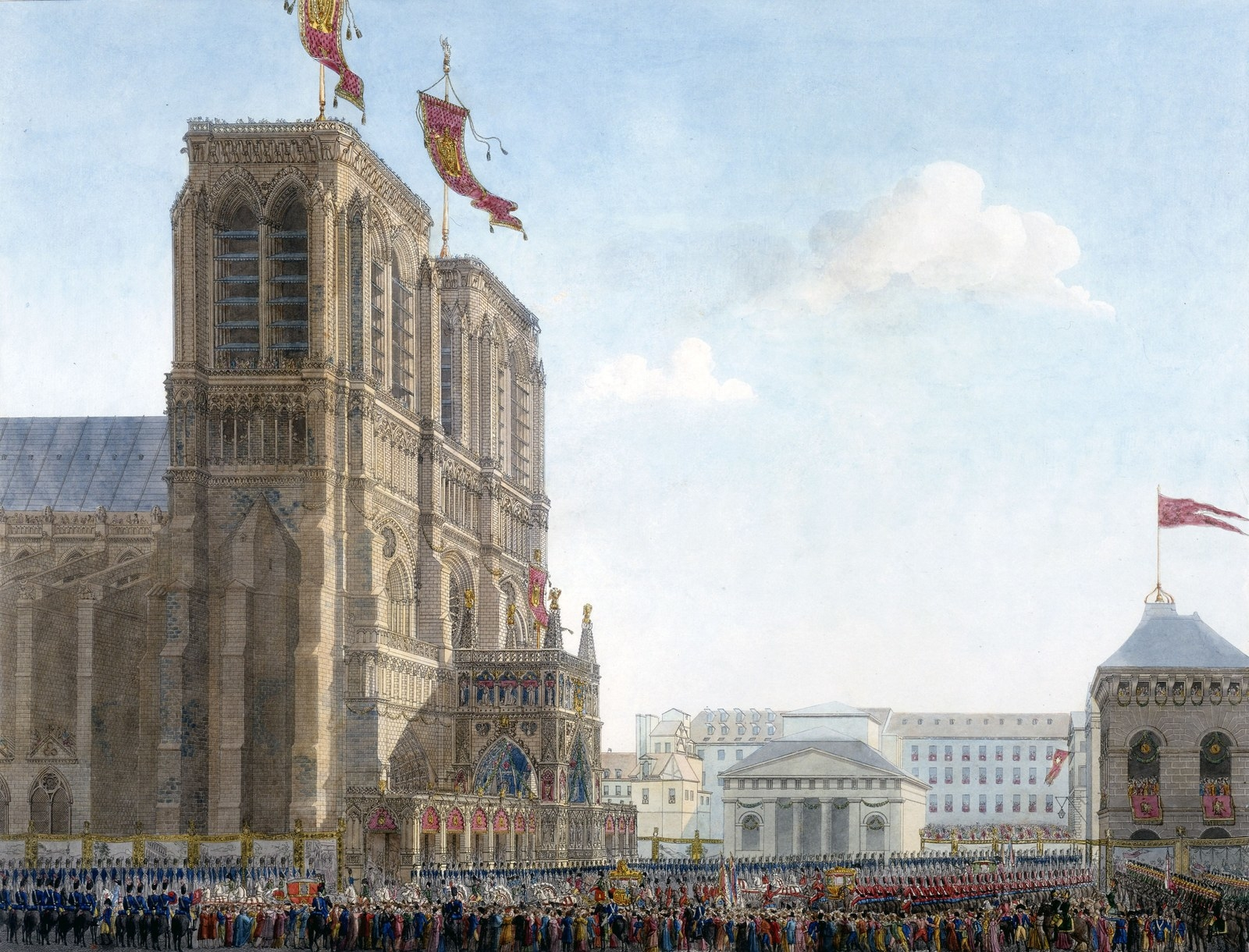 """The emperor arriving at Notre-Dame depicted in Percier and Fontaine's """"Book of the Coronation."""""""