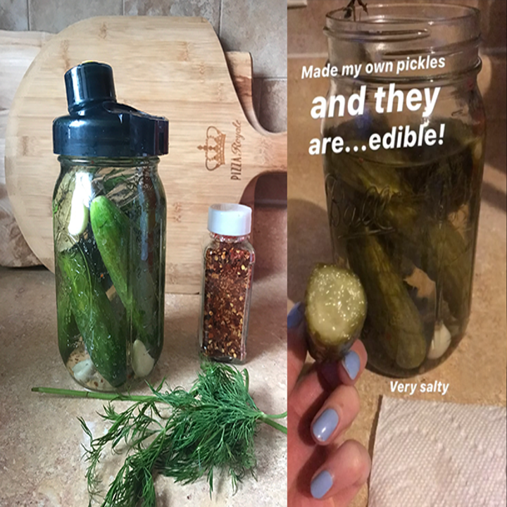 """before: cucumbers in jar after: pickles with the caption """"i made pickles and theyre edible"""""""