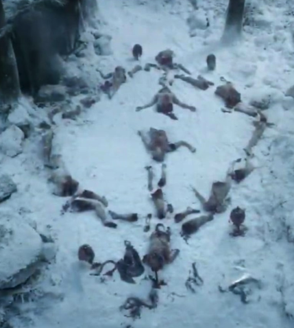 In this scene in the pilot episode, three Night's Watch men find the pattern and are then attacked by a wight child. The Last Hearth sequence in the Season 8 premiere was obviously a direct callback to this. But there's more to it.