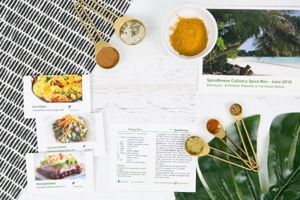 different spices and spice cards