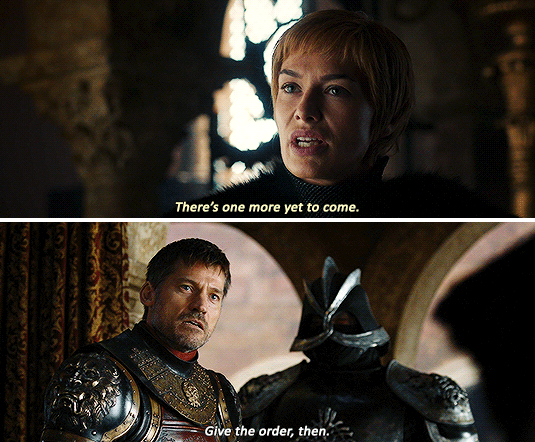 She explicitly says to him that she doesn't need him as much as he thinks she does, because she's got someone else to care about now. This could, of course, have been manipulation again — but to what end? Certainly not to keep Jaime around. And not to push him away, either — she's not exactly happy he's abandoning her, although it seems to be more of a pride thing than anything else at this point. It makes sense that Cersei genuinely believes the most important thing in her life at this moment, other than herself, is her unborn baby.