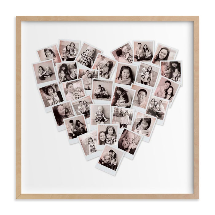 You upload 30 images into the heart template and can also change the size and color to really make it your own. Get it from Minted for $29+ (availble in six sizes, three colors, and either unframed or framed (with 17 options)).