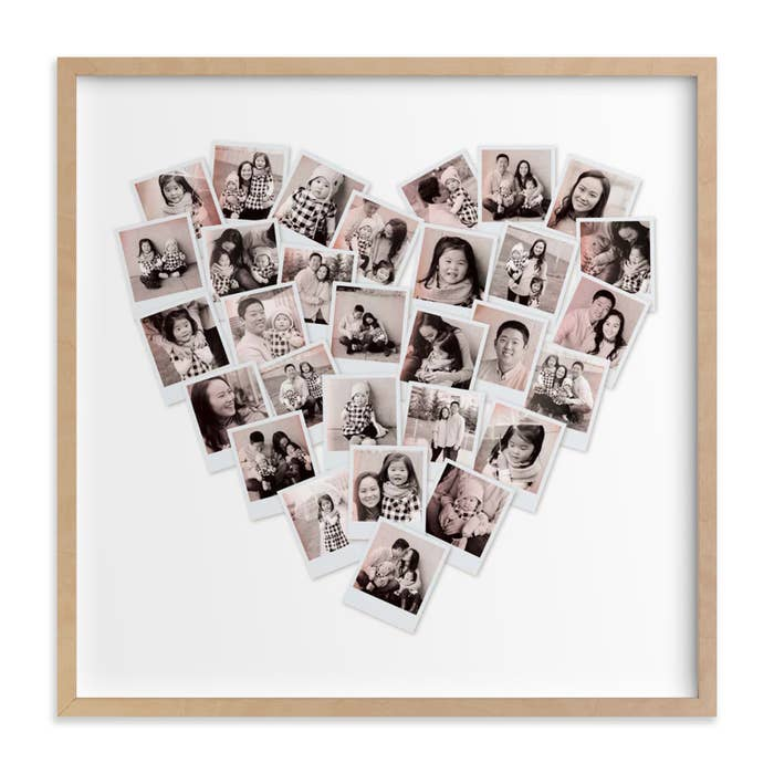 square print with polaroids in the shape of a heart and sepia-toned photos in them