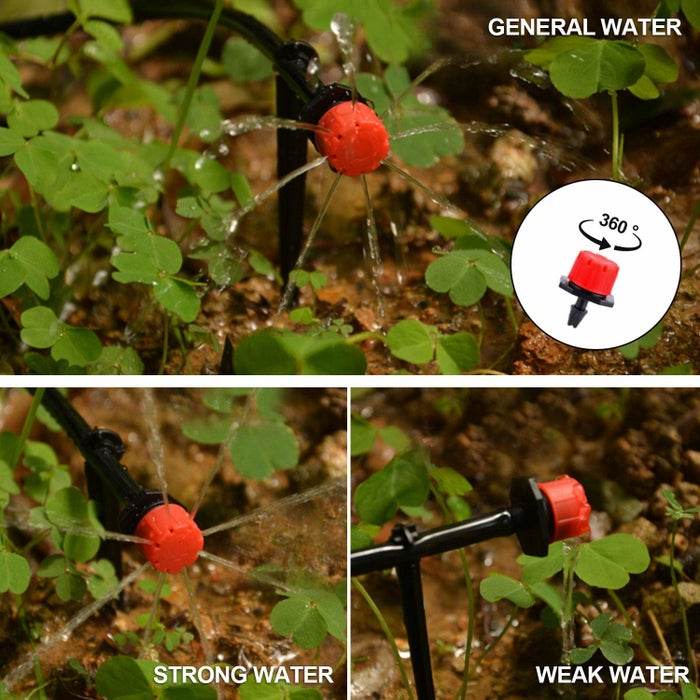 """It connects directly to your outdoor faucet or to your programmable timer, if you have one; and you can adjust each mini-sprinkler manually so every plant gets the amount of water it needs. Promising review: """"Works like a charm! I have this system in my garden, watering nine tomatoes and several types of squash. It comes with everything you need, and plenty of parts. I could triple my garden size, and still have leftover water line and emitters. Very worth the money, as all I have to do is hook up my hose and walk away. No more walking around, watering one plant at a time.""""—ChristinaGet it on Amazon for $23.99 (62 pieces)."""