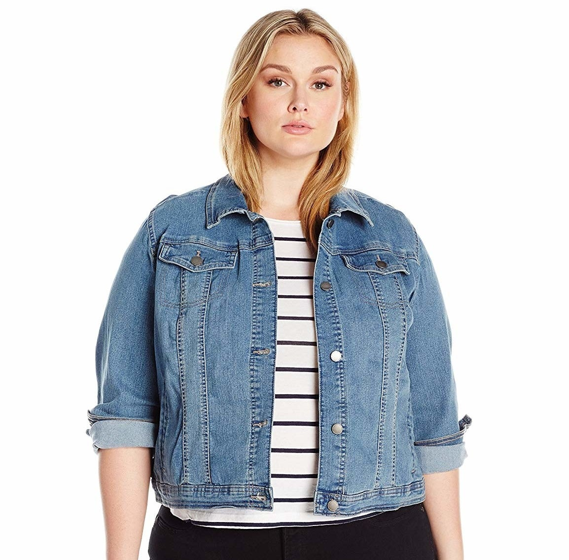 """This jacket features the two front flap pockets, but also includes two inside pockets for valuables. Promising review: """"This jacket is awesome. I ordered it as an everyday jean jacket and something I could wear over dresses on vacation. It's lightweight compared to the heavier Levi denim jackets (which I also own), which makes this PERFECT for warmer weather, and it has a bit of stretch. I probably should have sized down for a more form-fitting fit, but ordered my normal size and it still looked great. I would 100% recommend this budget jacket to any plus-size gal looking for something cute. Perfect staple for any wardrobe! Love, Love, LOVE!"""" —EvieMGet it from Amazon for $35.99 (available in sizes 1X–3X and two washes)."""