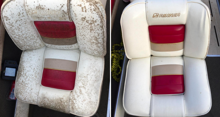"Promising review: ""Best product ever. Barely even needed a sponge. This was two years of mildew outside with a canvas cover, and only one application was needed. I tried different products, and this is the only one that works. These seats are the original OEM from 1995."" —Donovan Petit Get it from Amazon for $13.99."