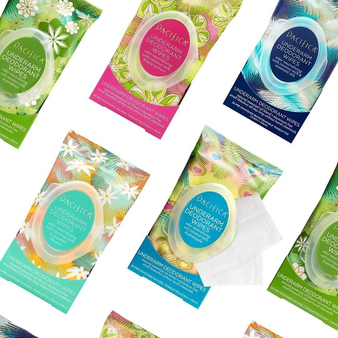 Collage of various underarm deodorant wipes in various scents