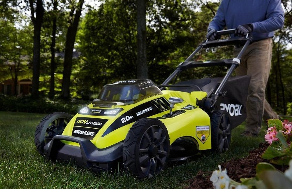 """Over 3K customers of The Home Depot have taken the time to give this lawn mower a five-star review!Promising review: """"I needed to replace an old gas mower that I had for many years. I admit I was a bit hesitant to buy a cordless mower, but since most of my tools are Ryobi and have never had a problem with them, I figured why not give it a try. I was surprised at the amount of power this mower had and it easily mowed through tough spots that my gas mower would stall at. It's much lighter than a gas mower so it was much easier to push. Another great feature is the ability to fold it up and store it upright so that saves a good amount of space in my garage. I'm very happy with this mower and would recommend it to anyone with a small to mid-size lot."""" —IslandDogGet it from The Home Depot for $299."""