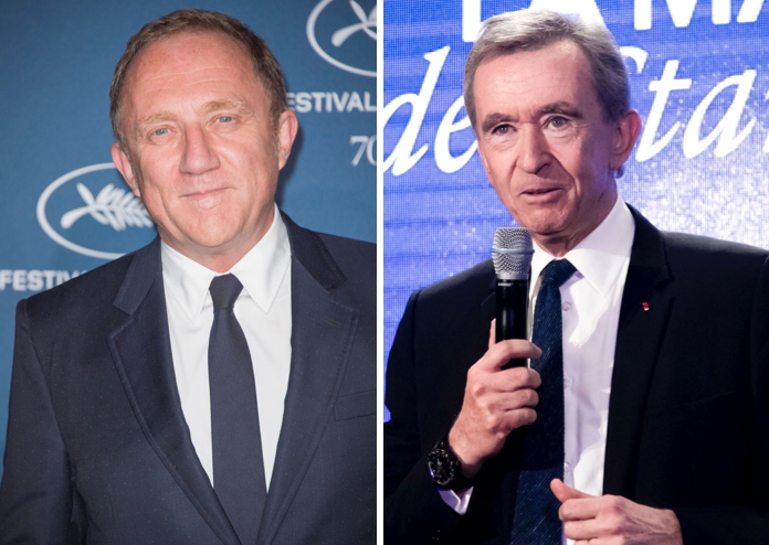 Left: François-Henri Pinault. Right: Bernard Arnault
