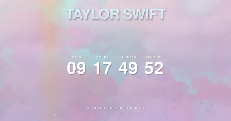 Her official website has also been completely wiped of the Reputation aesthetic, instead displaying the same clock counting down to April 26.The countdown has also appeared on billboards around the world, from New York City to London to Mexico City to Melbourne to Tokyo. The billboards advertise the website AprilTwentySix.com (yes, the TS is capitalised, of course), which also redirects to Taylor's official site.
