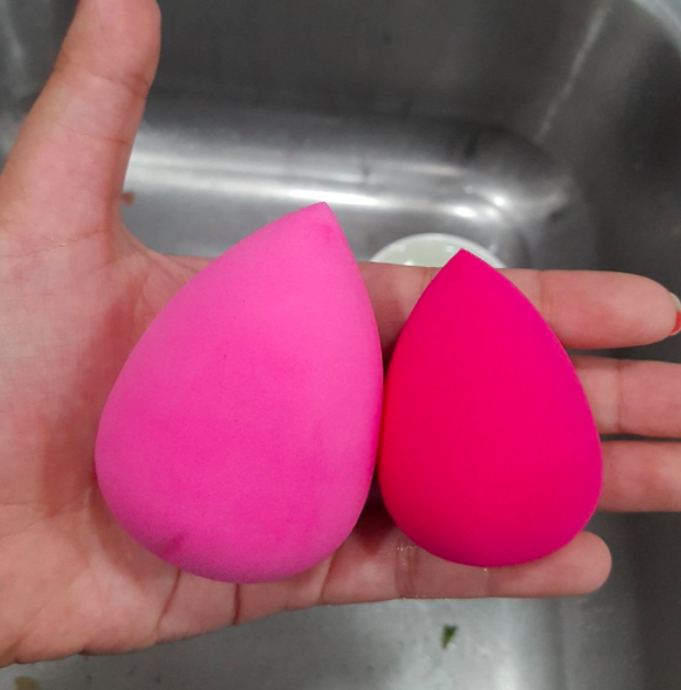 A customer review photo of a wet and dry makeup sponge