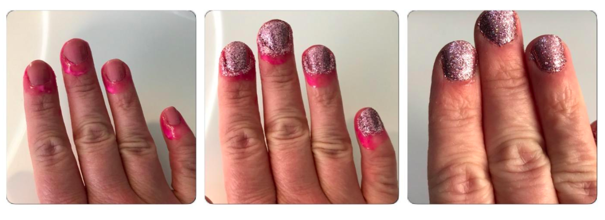 A series of customer review photo of the nail polish barrier applied under nail polish