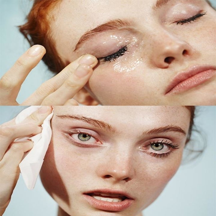 Two photos of a model using the cleanser to remove makeup from their eyes